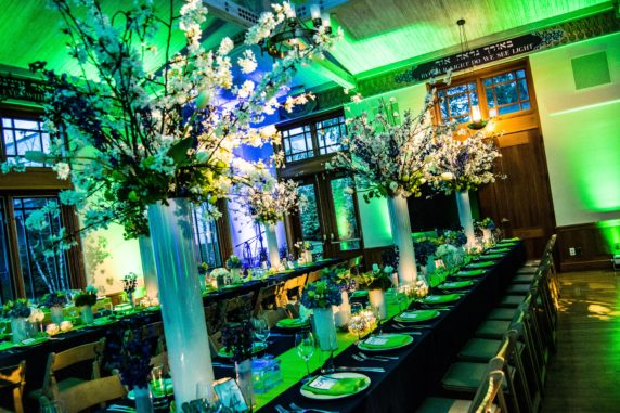 Tall Flowering Branch Bat Mitzvah Centerpiece Blue Green and White