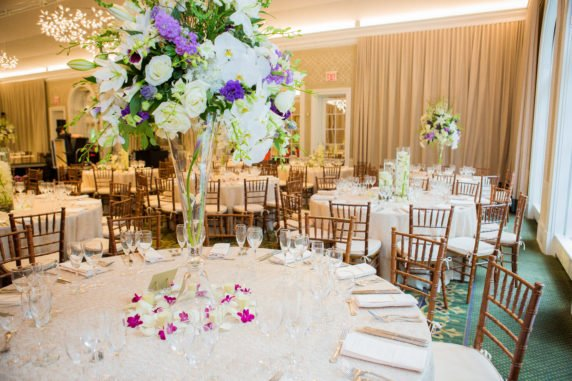 White and purple flower centerpieces for a Wedding